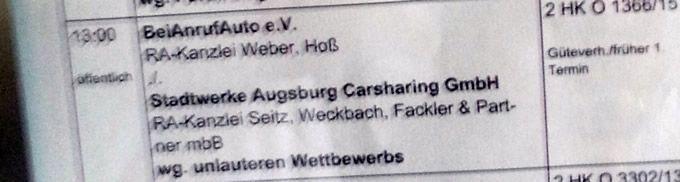 2015-07-21-gericht Carsharing nicht neu in Augsburg - Stadtwerke und ehrenamtlicher Verein einigen sich vor Gericht News Polizei & Co Vereinsleben Wirtschaft Bei Anruf Auto CarSharing Stadtwerke Augsburg |Presse Augsburg