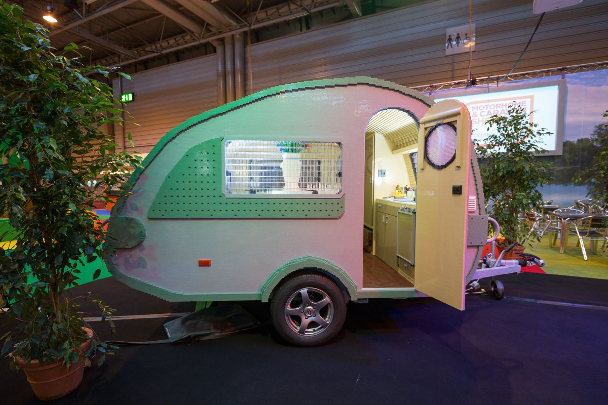 The LEGO Brick Caravan at the Motorhome and Caravan Show at the NEC. 13/10/2015...Photograph by Sam Frost...©2015…www.samfrostphotos.com...