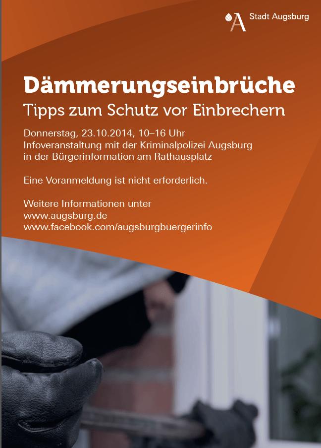 daemmerung Experten der Kripo geben Ratschläge zum Thema Dämmerungseinbrüche Freizeit News Polizei & Co Dämmerungseinbrüche Kipo Kripo |Presse Augsburg