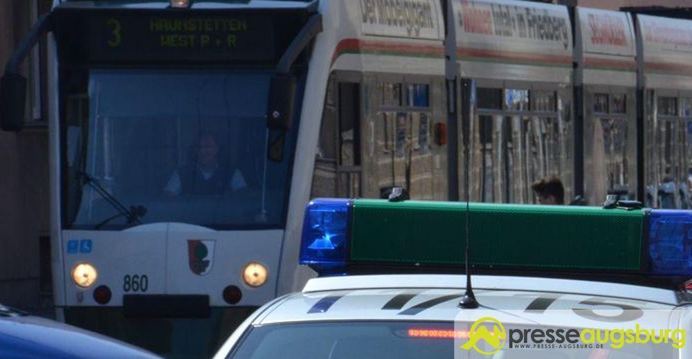 Polizei Straßenbahn Pfersee Verkehr 1