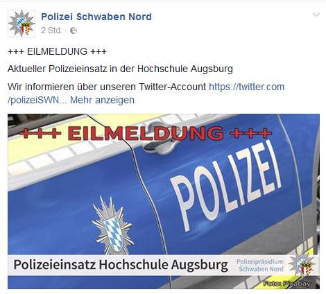 Unbenannt-33 Amokalarm in der Hochschule Augsburg ausgelöst Augsburg Stadt News Polizei & Co Alarm Amok Friedberger Straße Hochschule Augsburg Polizei Rotes Tor |Presse Augsburg
