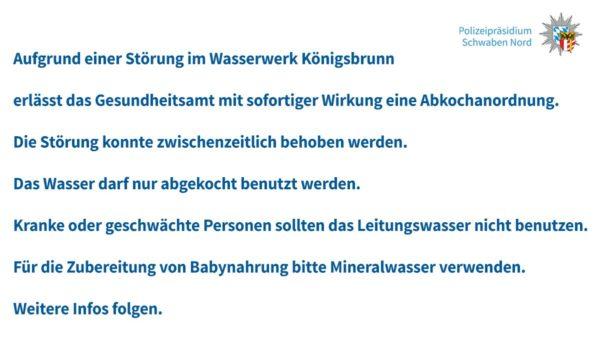 Nach Totalausfall im Wasserwerk Königsbrunn muss das Trinkwasser abgekocht werden