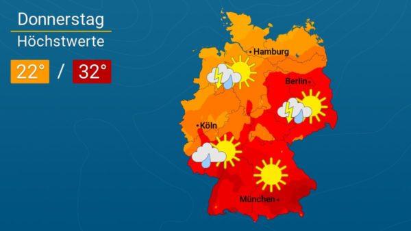 Sommerlich warm, aber gewittrig | Das Wetter für Augsburg und Deutschland