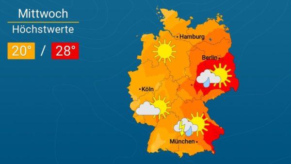Es wird Regen geben | Das Wetter für Augsburg und Deutschland