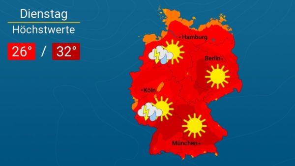 Ein heißer Feiertag   Das Wetter für Augsburg und Deutschland