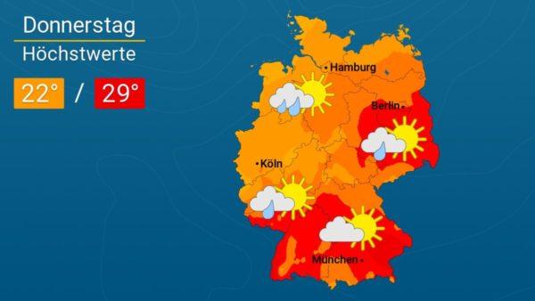 Heiter und sommerlich warm | Das Wetter für Augsburg und Deutschland