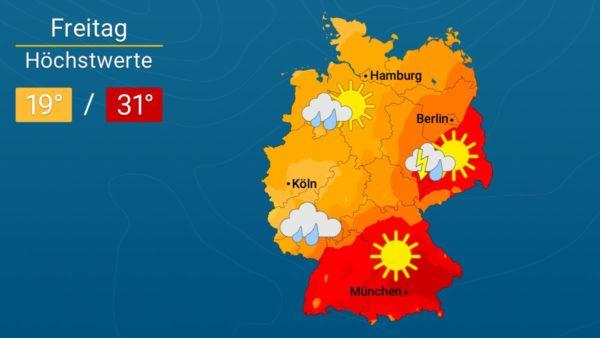 Es wird Gewitter geben | Das Wetter für Augsburg und Deutschland