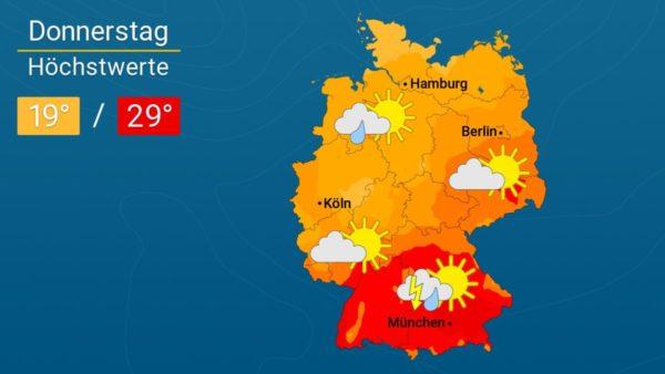 Heftige Gewitter möglich | Das Wetter für Augsburg und Deutschland