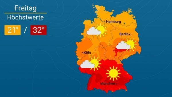 Zum Wochenende immer wärmer   Das Wetter für Augsburg und Deutschland
