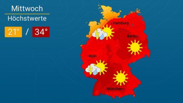 Nach Gewittern deutlich kühler | Das Wetter für Augsburg und Deutschland