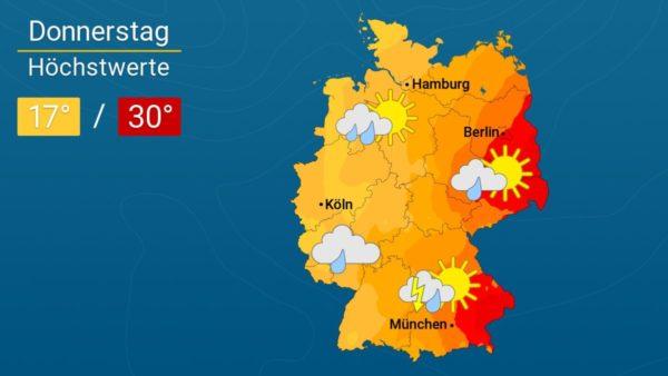 Gewitter leiten Wettersturz ein | Das Wetter für Augsburg und Deutschland