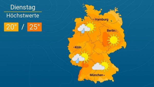 Am Dienstag im Osten sonnig | Das Wetter für Augsburg und Deutschland