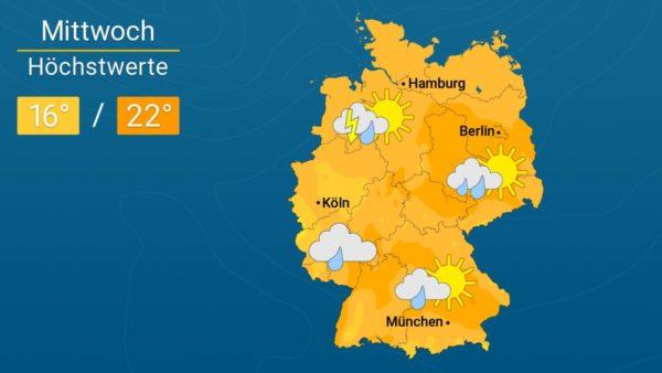 Es ist mit Schauern zu rechnen   Das Wetter für Augsburg und Deutschland