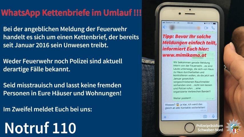 RauchmelderKettenmail-Small Fake News  Keine Kontrollen - Kettenbriefe täuschen User bei WhatsApp und Co News Polizei & Co Fake News Rauchmelder Whatsapp  Presse Augsburg