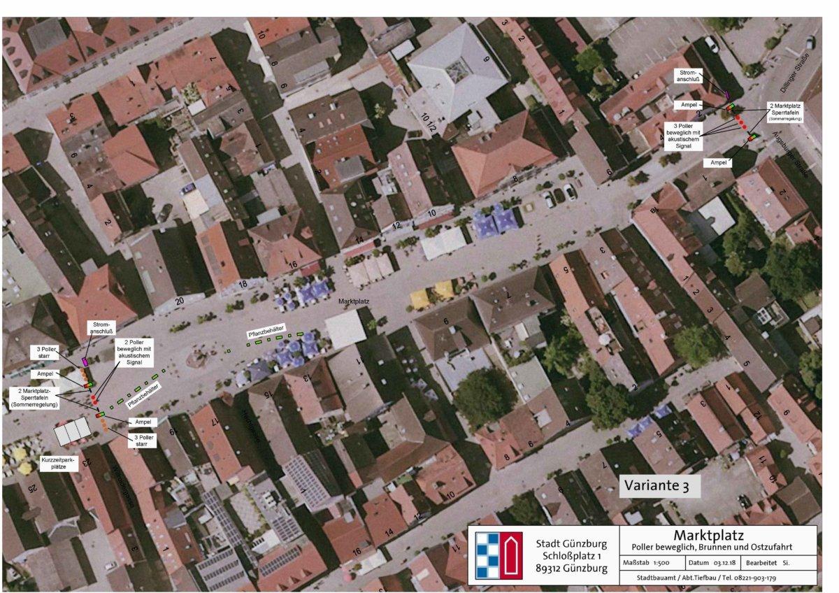 2018 12 11 Marktplatz Beschluss Fußgängerzone Poller Grafik Variante3