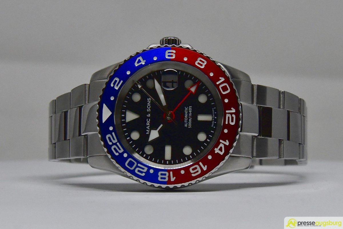 MARCANDSONS_GMT_001_ergebnis Made in Germany trifft auf Swiss-Made | Die MARC & SONS Taucheruhren-Serie GMT MSG-007 im Presse Augsburg-Test Bildergalerien News noad Technik & Gadgets GMT Diver GMT MSG-007 Made in Germany MARC & SONS Taucheruhr Test | Presse Augsburg
