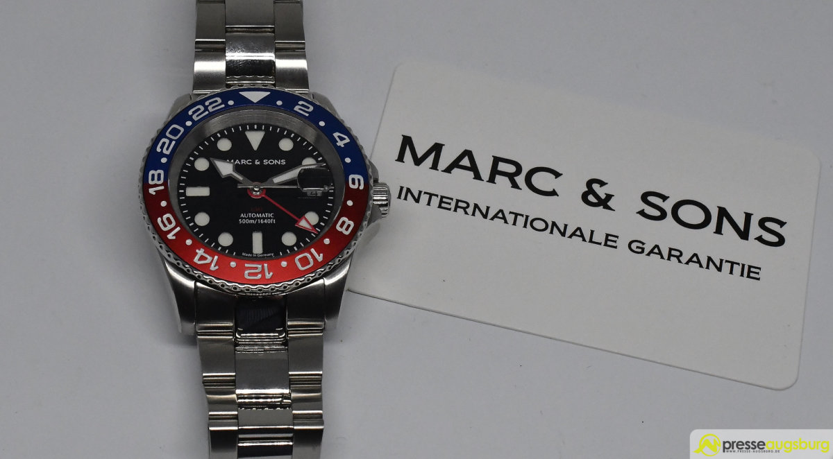 MARCANDSONS_GMT_015 Made in Germany trifft auf Swiss-Made | Die MARC & SONS Taucheruhren-Serie GMT MSG-007 im Presse Augsburg-Test Bildergalerien News noad Technik & Gadgets GMT Diver GMT MSG-007 Made in Germany MARC & SONS Taucheruhr Test | Presse Augsburg