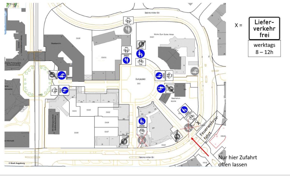 Unbenannt-1 Augsburg-Univiertel | Auf dem Europaplatz darf testweise auch Rad- und Lieferverkehr fahren Augsburg Stadt Freizeit News Augsburg Europaplatz Fahrrad Univiertel |Presse Augsburg