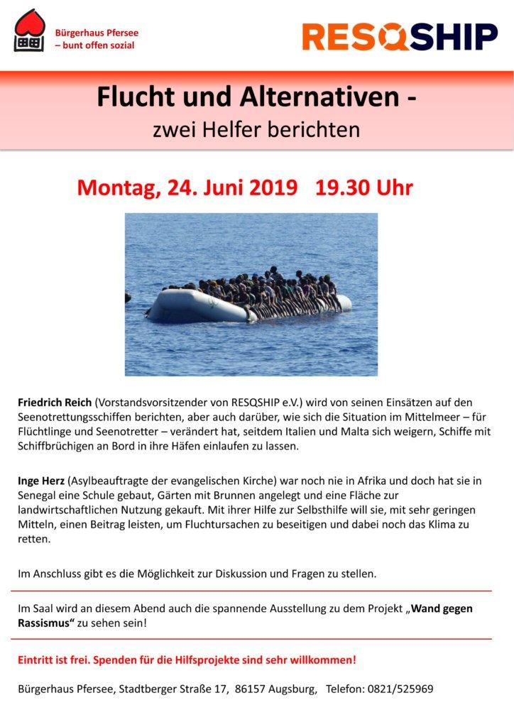 FluchtAlternativen_Vortrag_24.06_Flyer Flucht und Alternativen: zwei Helfer berichten Flucht Fluchtursachen Hilfsprojekt Migration Seenotrettung Senegal |Presse Augsburg