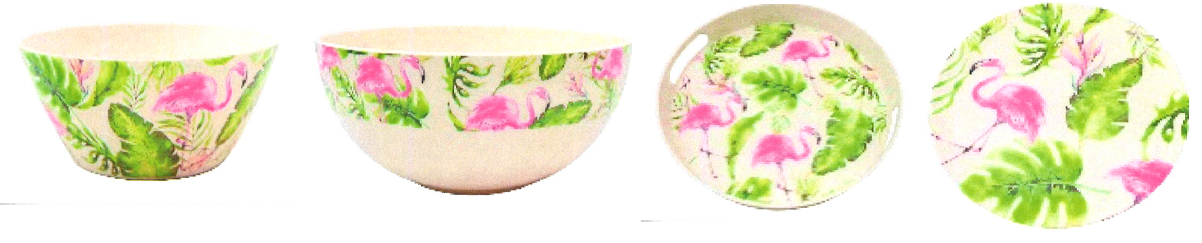 Salatschuessel Flamingo Klein Ca 14X14X7Cm Salatschuessel Flamingo Bauchig Ca 20X20X6Cm Tablett Rund Mit Griff Flamingo Ca 29X29X4Cm Teller Flamingo Klein Ca