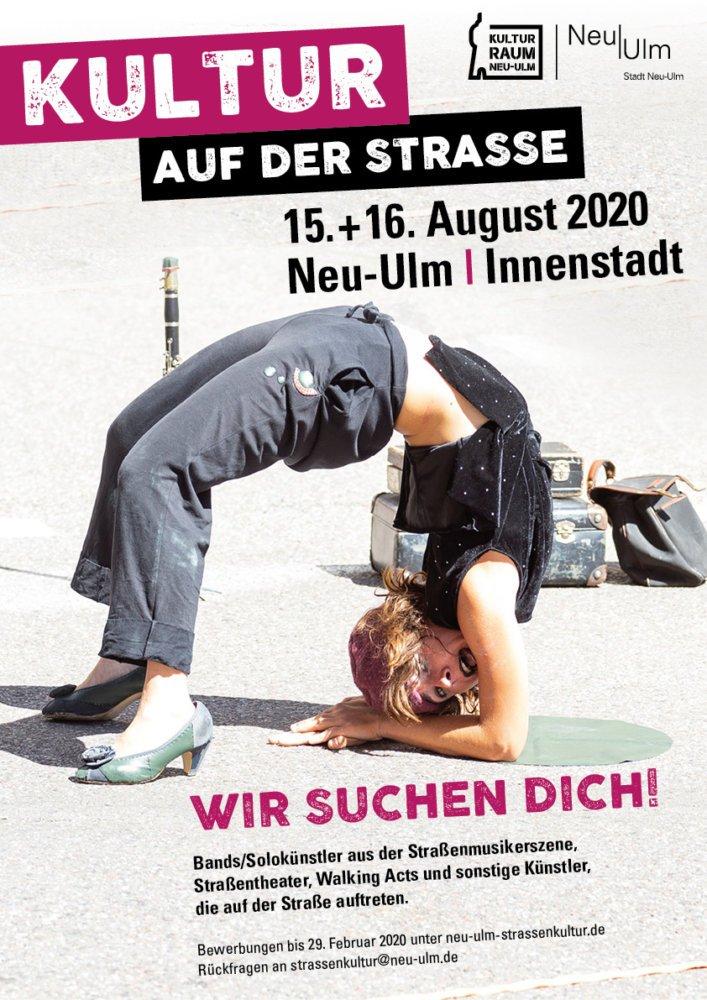 KulturS_PlakatA3_Such2020-1 Neu-Ulmer Straßenkulturfestival 2020: Künstler können sich ab sofort bewerben Freizeit Kunst & Kultur Neu-Ulm News Neu-Ulm Neu-Ulmer Straßenkulturfestival Straßenkünstler |Presse Augsburg