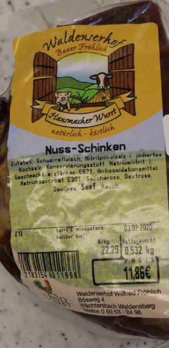 Produktrueckruf Nuss Schinken Und Andere Produkte Des Waldenserhof Wilfried Froehlich