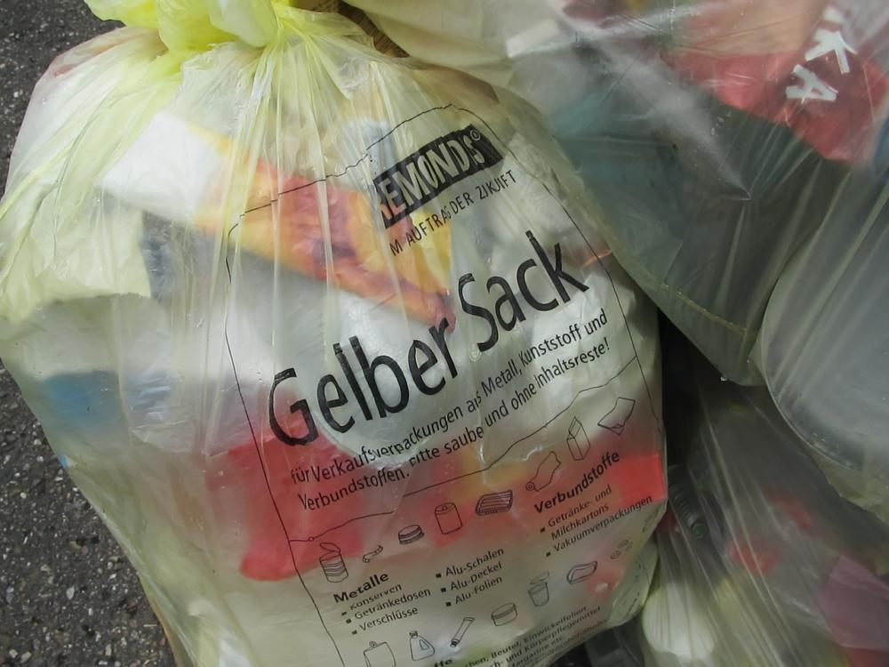 Gelber Sack Plastikmüll