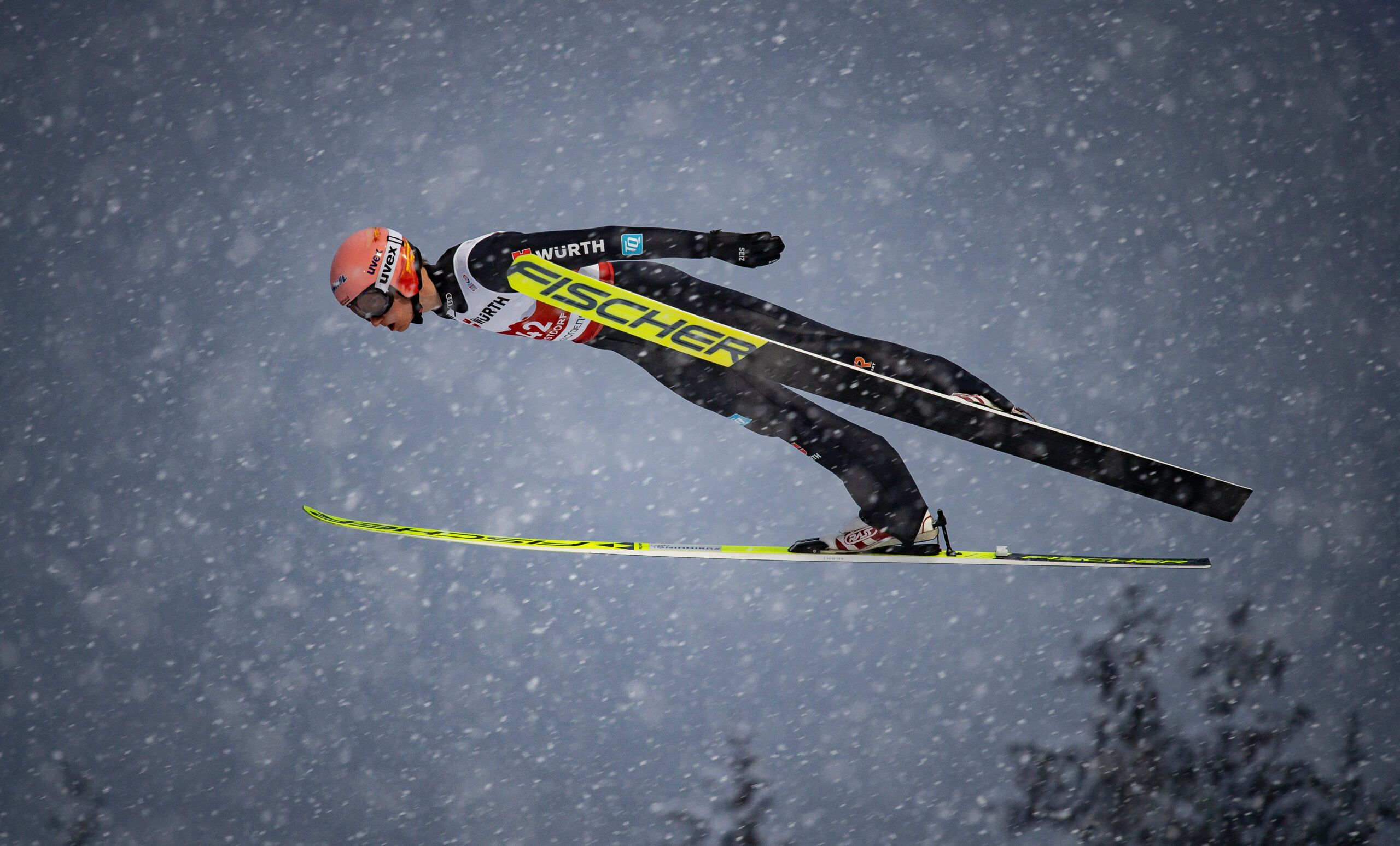 Karl Geiger Of Germany Competes During The Ski Jumping Men Large Hill Individual First Round Scaled