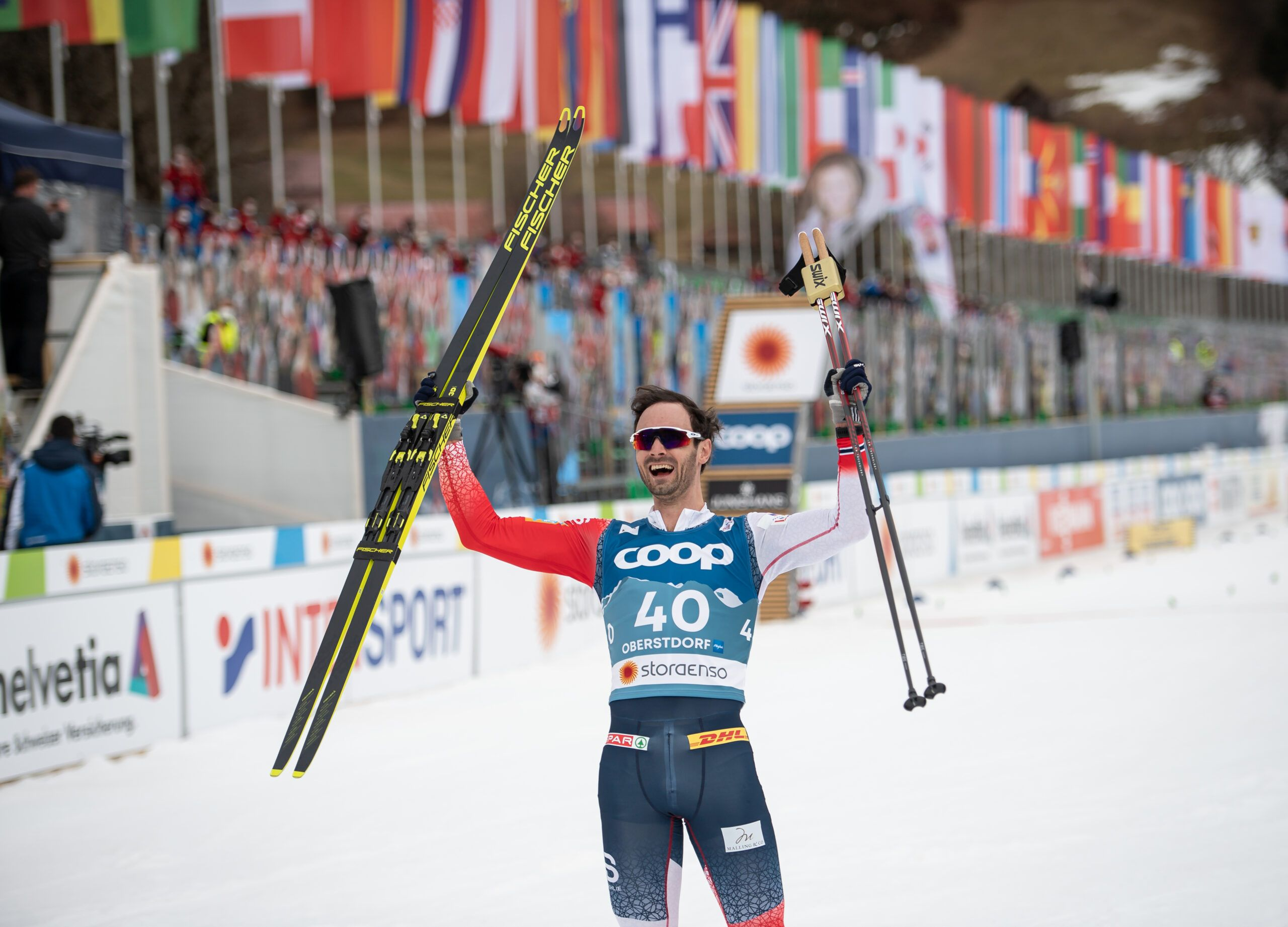 World Champion Hans Christer Holund From Norway Celebrates The Cross Country Men 150 Km Interval Start Free Scaled
