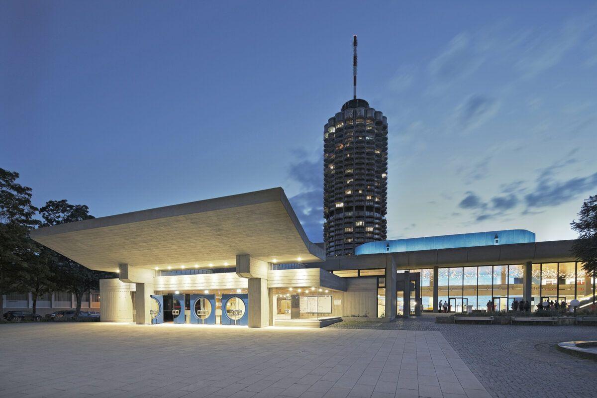 Haupteingang Nacht Blau Retuschiert Kongress Am Park Norbert Liesz